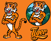vector set of cartoon tiger character