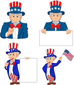 Vector illustration of Set of cartoon uncle Sam's in different poses
