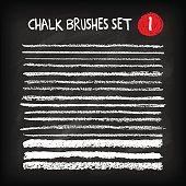 Set of chalk brushes. Handmade design elements on chalkboard background. Grunge vector illustration.