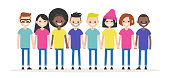 Set of characters holding each other's hands. Diversity conceptual illustration. Friends. Multiracial group of young people. Flat editable characters, clip art