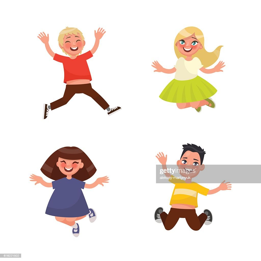Set of characters jumping children on a white background. Vector : Clipart vectoriel