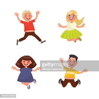 Set of characters jumping children on a white background. Vector : Vektorgrafik