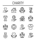 Set of charity icons in modern thin line style. High quality black outline donation symbols for web site design and mobile apps. Simple charity pictograms on a white background.