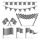Set of sport checkered flags and banner on white background. Balck and white color