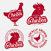Set of Chicken labels, prints, posters for butcher shop, farmer market, meat stores. Red hen head, body silhouettes. Chicken hand written lettering word. Vintage style. Vector illustration