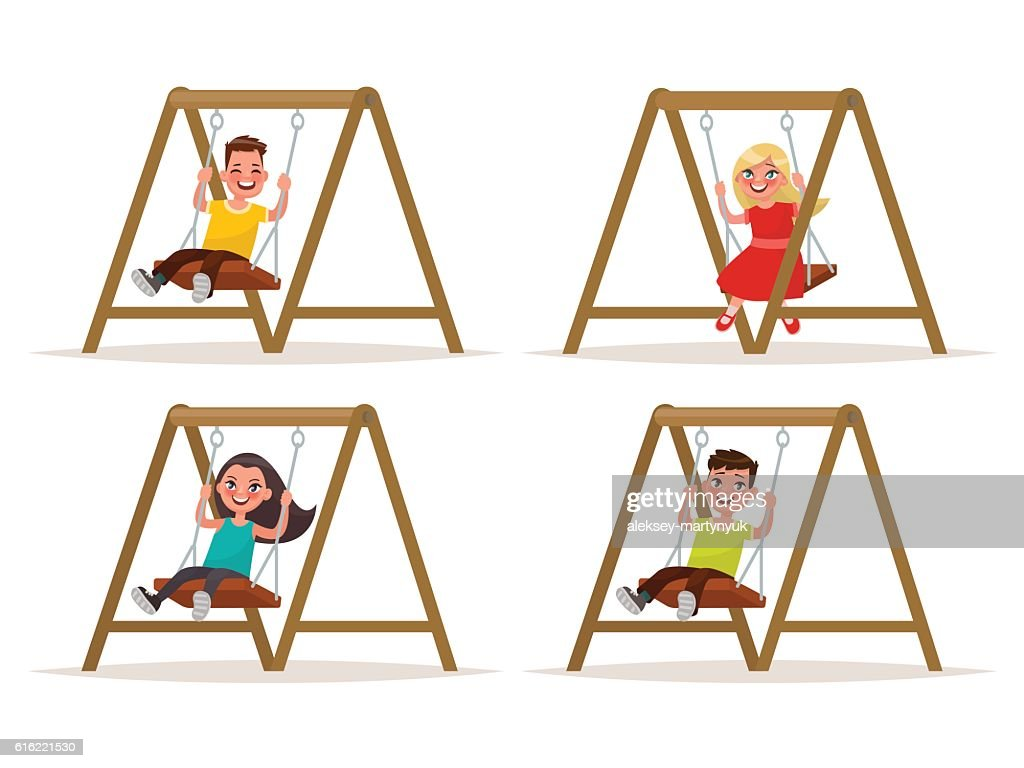 Set of children's characters on a swing. Vector illustration : Vector Art