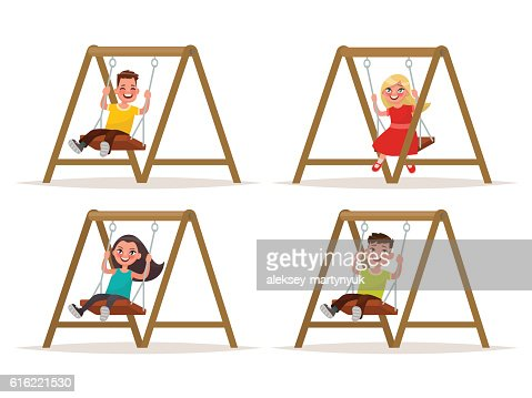 Set of children's characters on a swing. Vector illustration : Vectorkunst