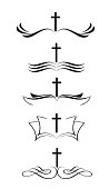 Set of christian logos cross and bible. stylized Hand drawn vintage Calligraphy lettering Vector illustration EPS10.