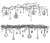 Set of christmas and New Year decorations. Garlands and lights vector sketch.
