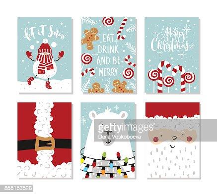 Conjunto de tarjetas de felicitación de Navidad y año nuevo. Ilustración de vector. Letras dibujadas a mano. : Arte vectorial