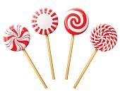 Striped peppermint lollipops isolated on white. Vector illustration for christmas, new years day, sweet-stuff, winter holiday, dessert, new years eve, etc
