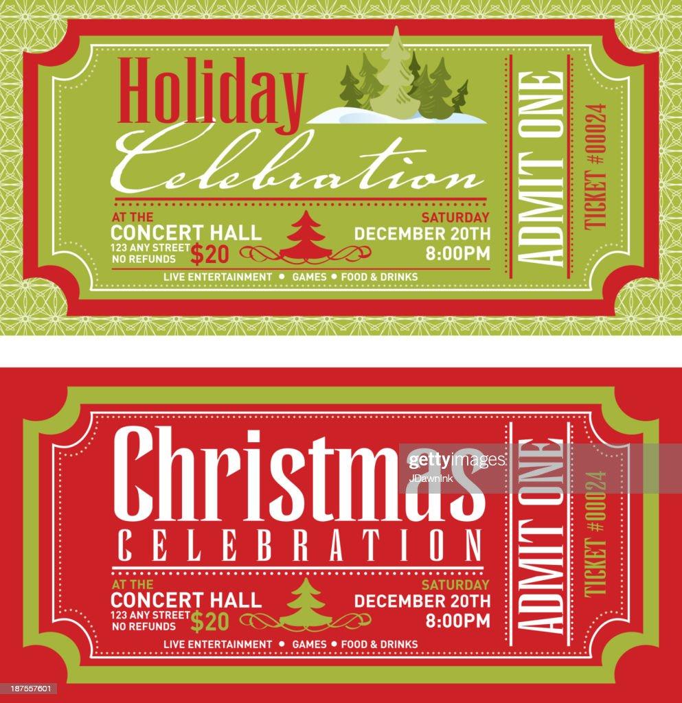 Set Of Christmas Concert Tickets Templates Vector Art – Show Ticket Template