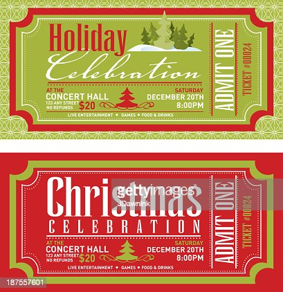 Set of christmas concert tickets templates vector art for Concert press release template