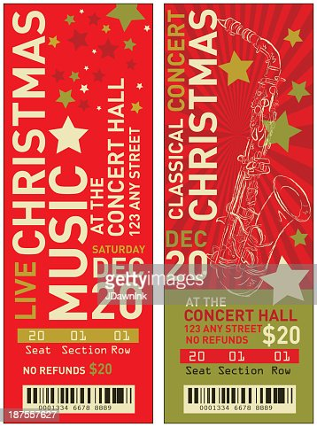 Set Of Christmas Concert Tickets Templates Vector Art ...