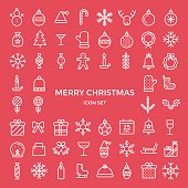 Christmas holiday icons thin line flat style design