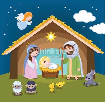 Set of christmas scene elements cartoon nativity holy - Dibujos de nacimientos de navidad ...