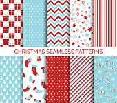 Set of Christmas seamless vector patterns and backgrounds