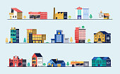 Set of city buildings. Bank, hospital, fire station, police station, shops and restaurants. Vector illustration