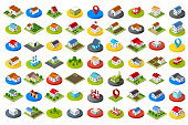 Set of city icons in different styles, colors for design and concept business