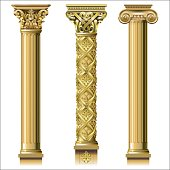 Set of classic gold columns in different styles. Vector graphics