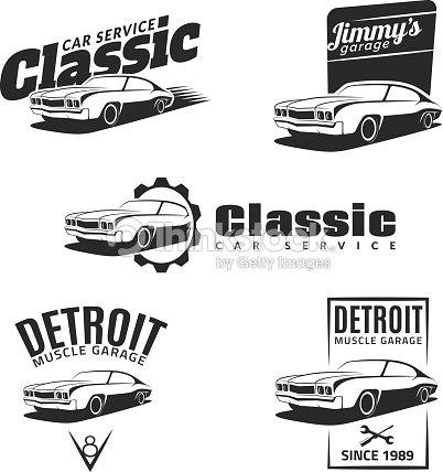 Set Of Classic Muscle Car Emblems Badges And Icons Vector Art