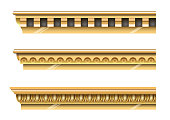 A set of classical gold cornices for the walls of buildings. Stucco molding. Vector graphics