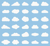 Set of Cloud  icon white color on blue background. Cloud sky vector illustration collection for web, art and app design. Different cloudscape weather symbols.