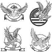 Set of coat of arms with eagles. Design elements for label, emblem, sign. Vector illustration
