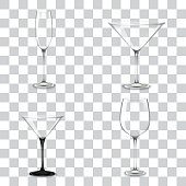 Set of cocktail glasses for alcohol isolated on transparent