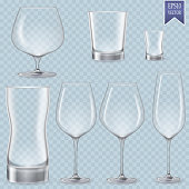 Set of cocktail stemware and glasses for alcohol.