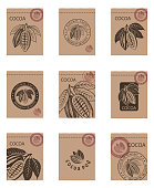 collection of packages with cocoa beans and leaves