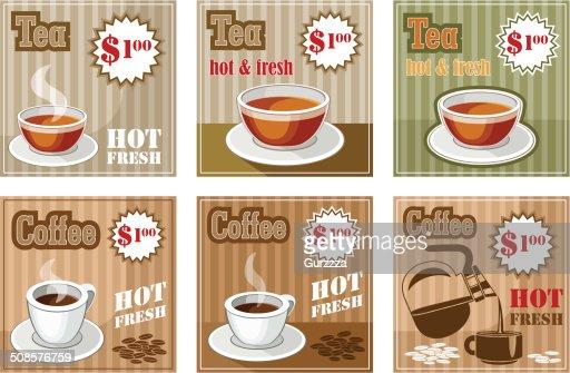 Satz von Kaffee und Tee-Menü : Vektorgrafik