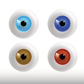 set of color eyeball on white background