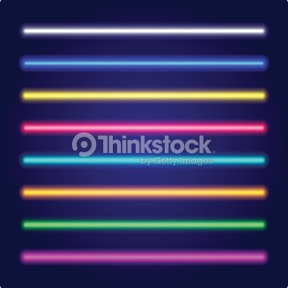 Set of color laser beams. Neon tube light. Vector. : stock vector