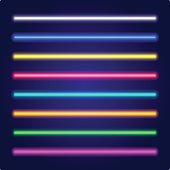 Neon tube light. Vectorillustration. Set of color laser beams.