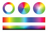Set of color spectra RGB, wheel circles and stripes. Vector set on white background
