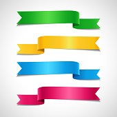 Set of colored decorative arrow ribbons. Green, yellow, blue, red banners, vector illustration