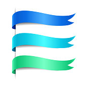 Set of colored decorative wave banners. Blue, azure, green ribbon, vector illustration
