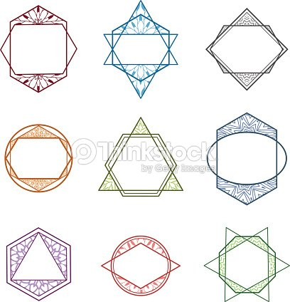 Set Of Colored Geometric Trendy Icons Logos Minimalist Style