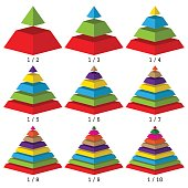 Set of colored isometry pyramid charts. Business data, colorful elements for infographics