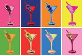 Set of Colored Martini Cocktails with Olives Vector Illustration Set of Colored Martini Cocktails with Olives Vector Illustration