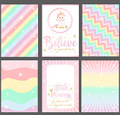 "Rainbow background.""Unicorn"" baby shower. Slogan: ""Believe in your dreams. Little princess. Welcome in magical world"". Pink text and gold crown"