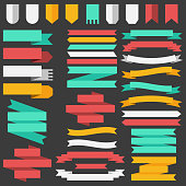Set of colored ribbons and elements for illustration concept. Template for web and  mobile. Vector background design.