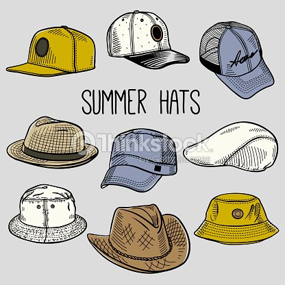 675658d5 Set Of Colored Sketches Of Summer Sun Hats And Caps stock vector ...
