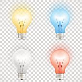 Set of colored transparent realistic glass light bulbs isolated on checkered background. Vector illustration