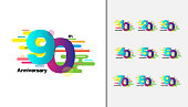 Set of Colorful anniversary celebration icons design for booklet, leaflet, magazine, brochure poster, web, invitation or greeting card. Vector illustration.