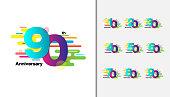 Set of Colorful anniversary celebration icons design for booklet, leaflet, magazine, brochure poster, web, invitation or greeting card. Vector illustration.