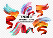 Set of colorful brush strokes. Modern design element. Vector illustration EPS10