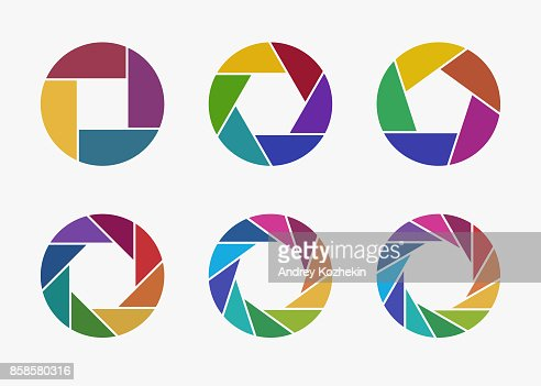 Set of colorful camera lens aperture icons. : stock vector