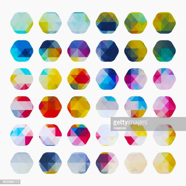 set of colorful check pattern hexagon buttons